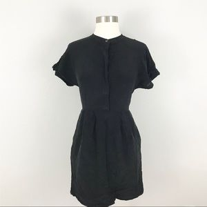 Madewell size 0 Silk Shirtdress Black Pockets